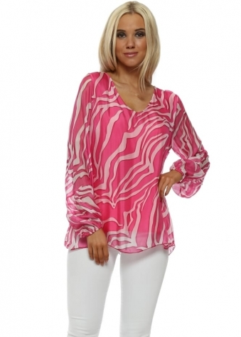 Hot Pink Zebra Print Silk V-Neck Top