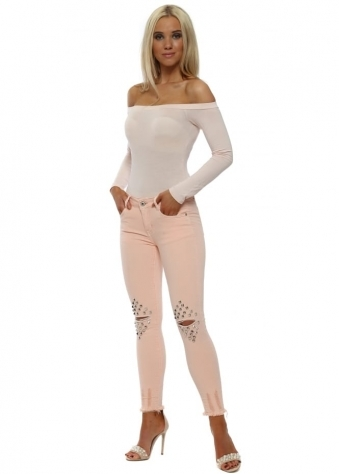 Pink Ripped Knee Studded Skinny Jeans