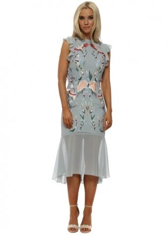 Oriental Embroidery Ruffle Back Midi Dress