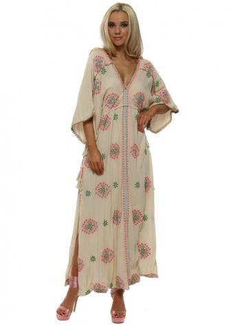 Rony Ecru Embroidered Floral Maxi Kaftan Dress