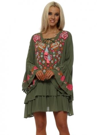 Rustik Khaki Floral Embroidered Beach Dress