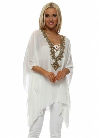 White Gold Beaded Diamante Kaftan Top