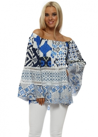 Blue Geo Shape & Floral Bardot Top