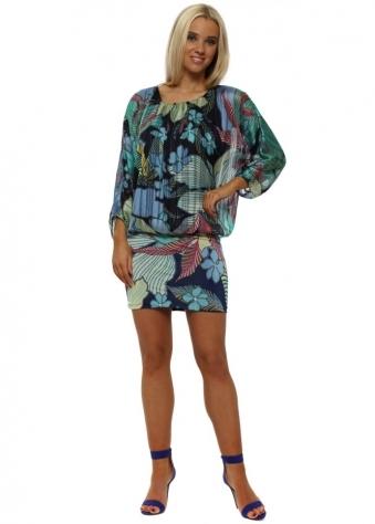 Navy Blue Tropical Flower Batwing Mini Dress