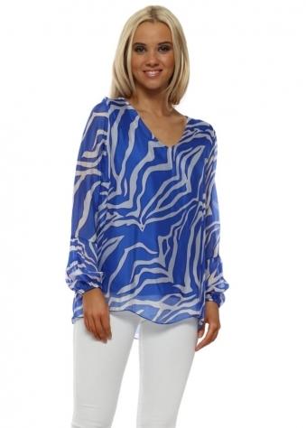 Cobalt Blue Zebra Print Silk V-Neck Top