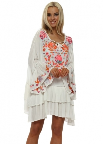 Rustik White Floral Embroidered Beach Dress