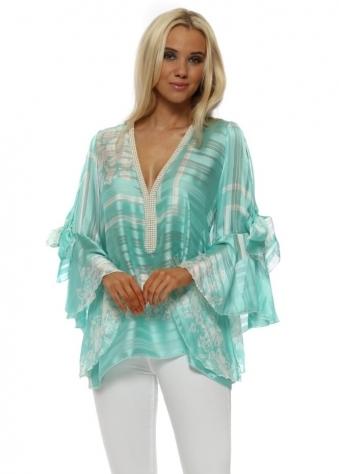 Aqua Pearl Embellished Flounce Sleeve Top