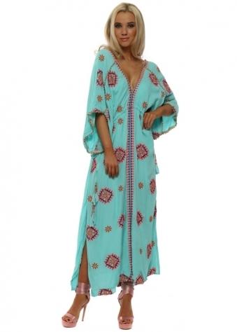 Rony Aqua Embroidered Floral Maxi Kaftan Dress