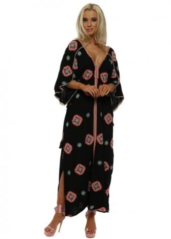 Rony Black Embroidered Floral Maxi Kaftan Dress