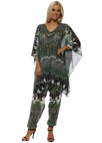 Green Feather Print Kaftan Lounge Suit
