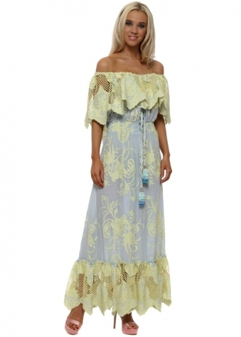 Blue & Yellow Lace Bardot Milan Maxi Dress