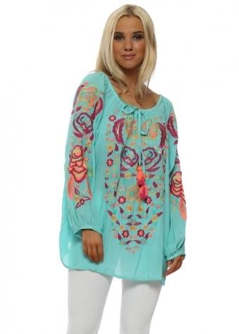 Rania Aqua Neon Floral Embroidered Top