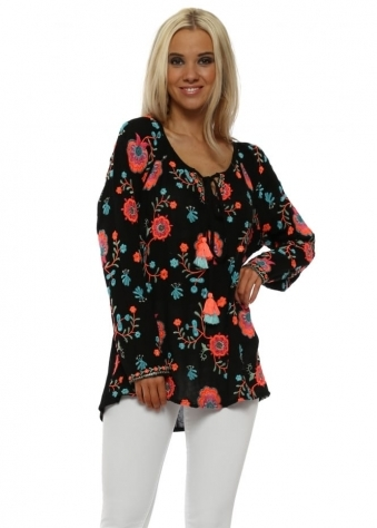 Romy Black Neon Embroidered Floral Top