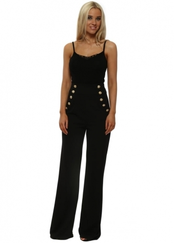 Black Military Style High Waist Trousers