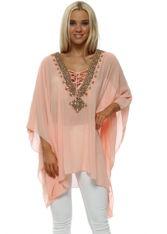 Peach Gold Beaded Diamante Kaftan Top