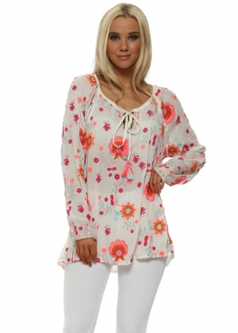 Romy White Neon Embroidered Floral Top