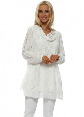 White Lace Oversized Tunic Top