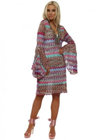 Pastel Rainbow Zig Zag Bell Sleeve Dress