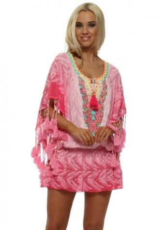 Miss Coco Pink Leaf Print Neon Tassel Kaftan Top
