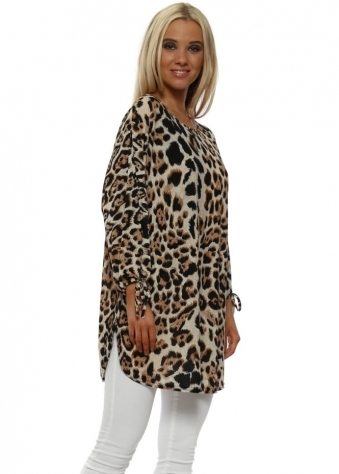 Feathered Leopard Print Longline Tie Cuff Top