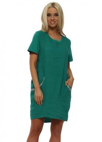 Green Embellished Pocket Linen Mini Dress