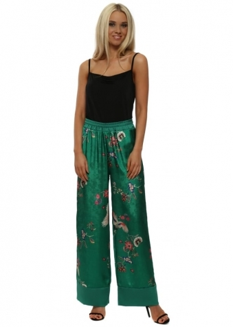 Green Embossed Bird Print Trousers