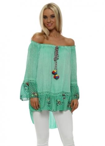 Green Bardot Floral Lace Pom Pom Tassel Top