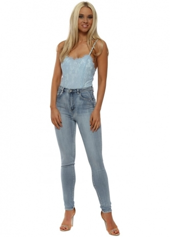 Light Blue Denim Stretch Fit High Waisted Jeans