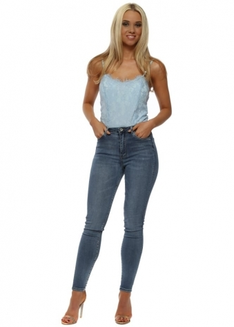 Mid Blue Denim Stretch Fit High Waisted Jeans