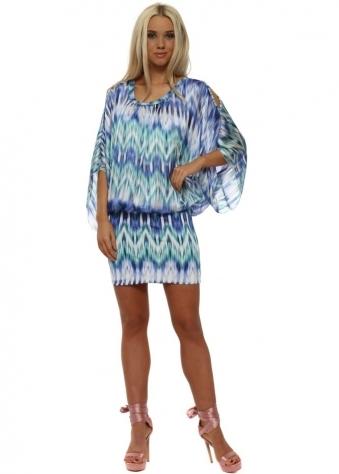 Blue & Aqua Bandeau Hem Mini Dress