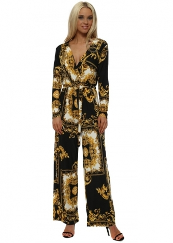 Black & Gold Rococo Print Long Sleeve Jumpsuit