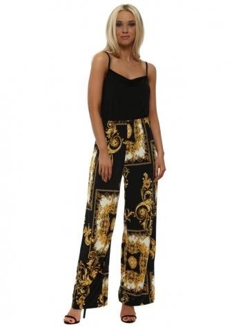 Black & Gold Print Wide Leg Trousers