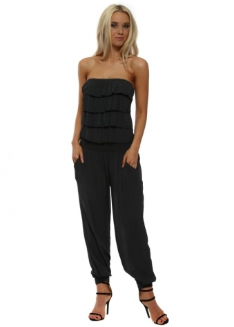 Charcoal Strapless Ruffle Jumpsuit