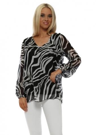 Black Zebra Print Silk V-Neck Top