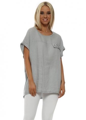 Grey Glitter Pocket Linen Top