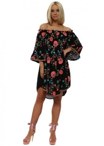 Riktus Black Neon Embroidered Bardot Dress