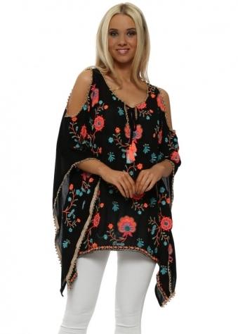 Ralysse Black Floral Embroidered Cold Shoulder Kaftan