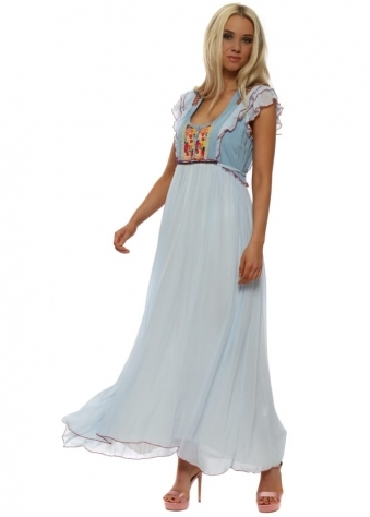 Rancho Floral Brocade Baby Blue Chiffon Maxi Dress