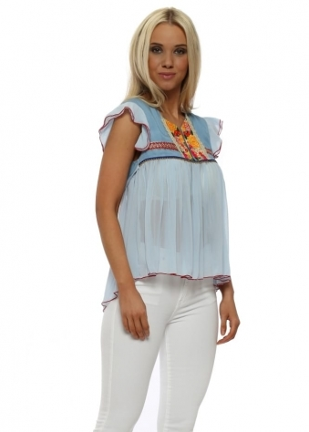 Sunshine Floral Brocade Baby Blue Chiffon Top