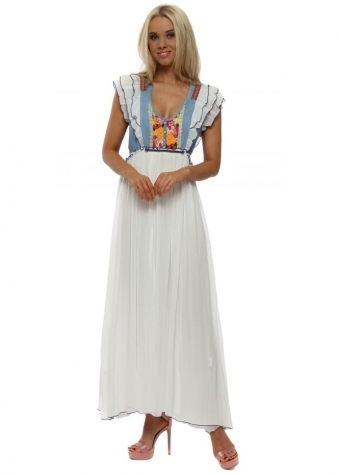 Rancho Floral Brocade White Chiffon Maxi Dress