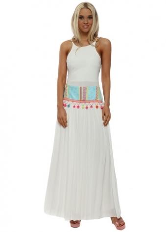 Finley Turquoise Aztec Pom Pom Chiffon Bohemian Maxi Skirt
