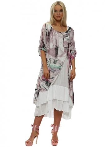 Pink Print Linen Layered Dress