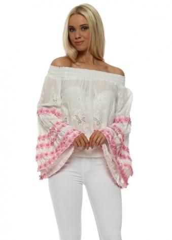 Choupette Bardot Gypsy Pink Flowers Top