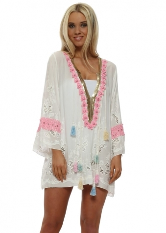 Egypte Pink Crystal Flowers Tassel Kaftan Top