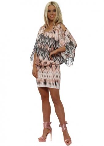 Pink & Black Bandeau Hem Mini Dress
