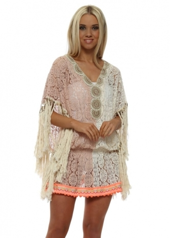 Miss Coco Pink & Cream Lace Kaftan Top
