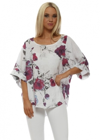White Floral Linen Oversized Top