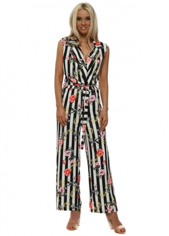 Black & White Pinstripe Floral Jumpsuit