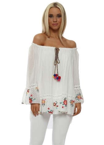 White Bardot Floral Lace Pom Pom Tassel Top