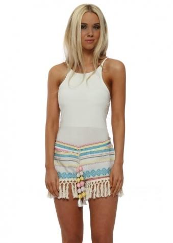 Neon Inca Sequinned Pom Pom Shorts
